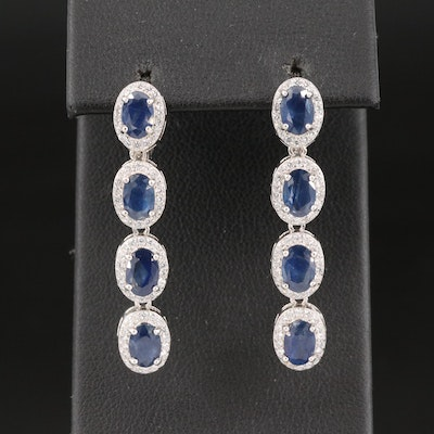 Sterling Silver Sapphire Drop Earrings with Cubic Zirconia Halos