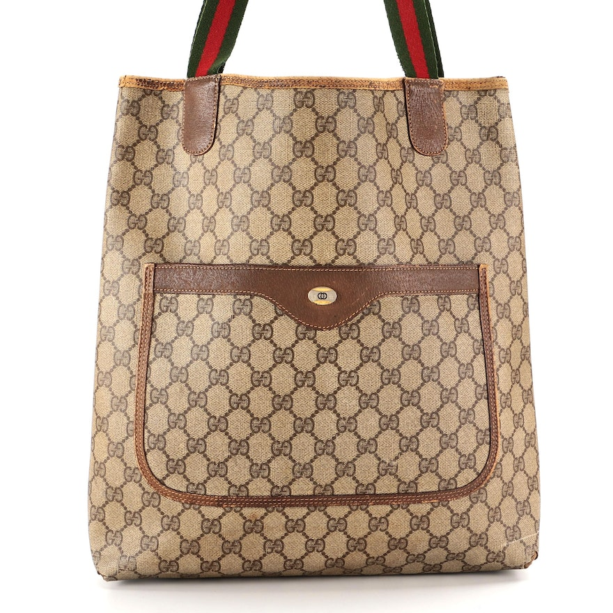 Gucci Accessory Collection Web Tote in GG Supreme Canvas and Brown Leather