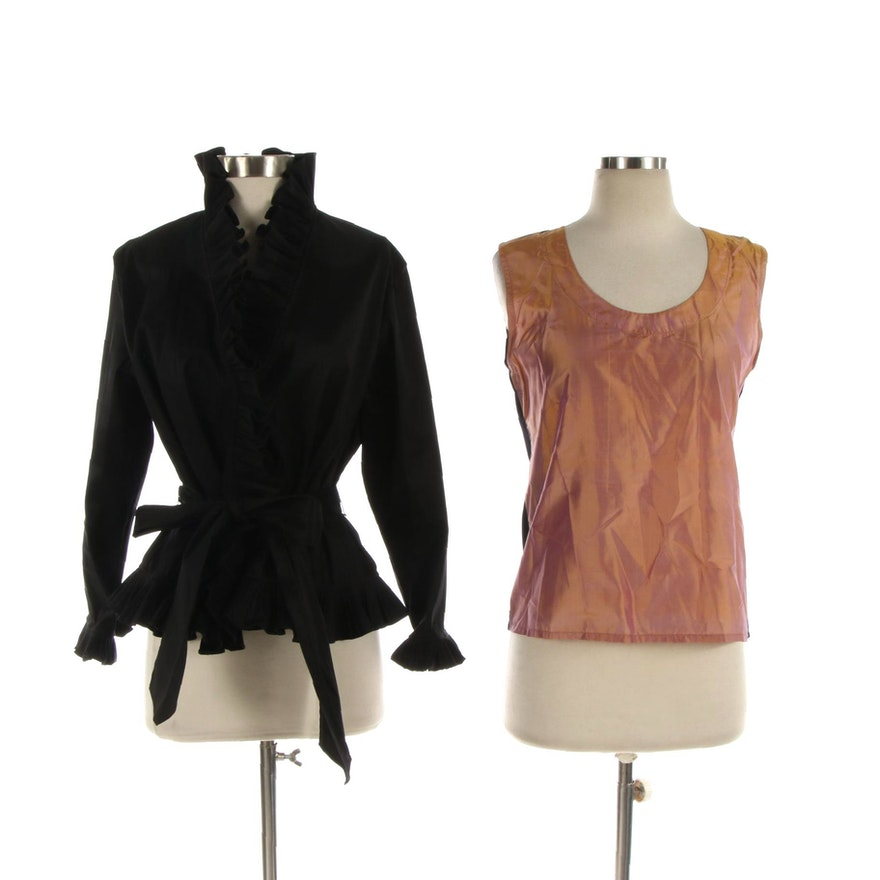 Isadora Collection Taffeta Ruffle Jacket with The Silk 'n Alpaca Sleeveless Top