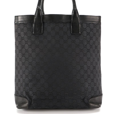 Gucci Tote Bag in Black GG Canvas and Smooth Leather