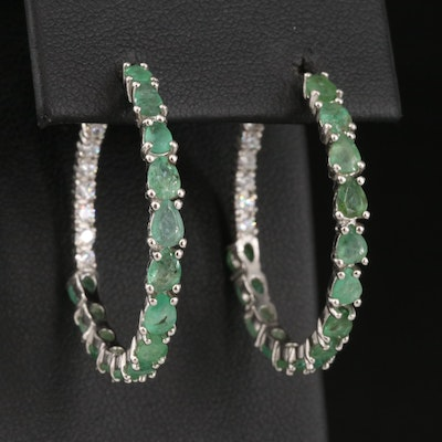 Sterling Emerald and Cubic Zirconia Inside-Out Hoop Earrings