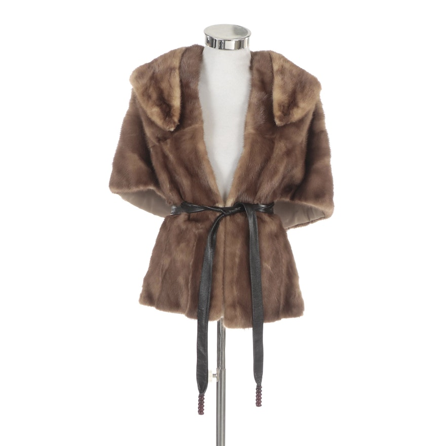 Mink Fur Stole and Collar with Leather Tie Belt