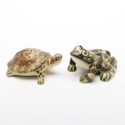 Brush McCoy Frog and Turtle Glazed Ceramic Figurines