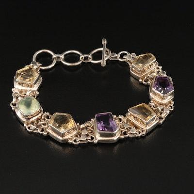 Sterling Amethyst, Citrine and Prehnite Bracelet