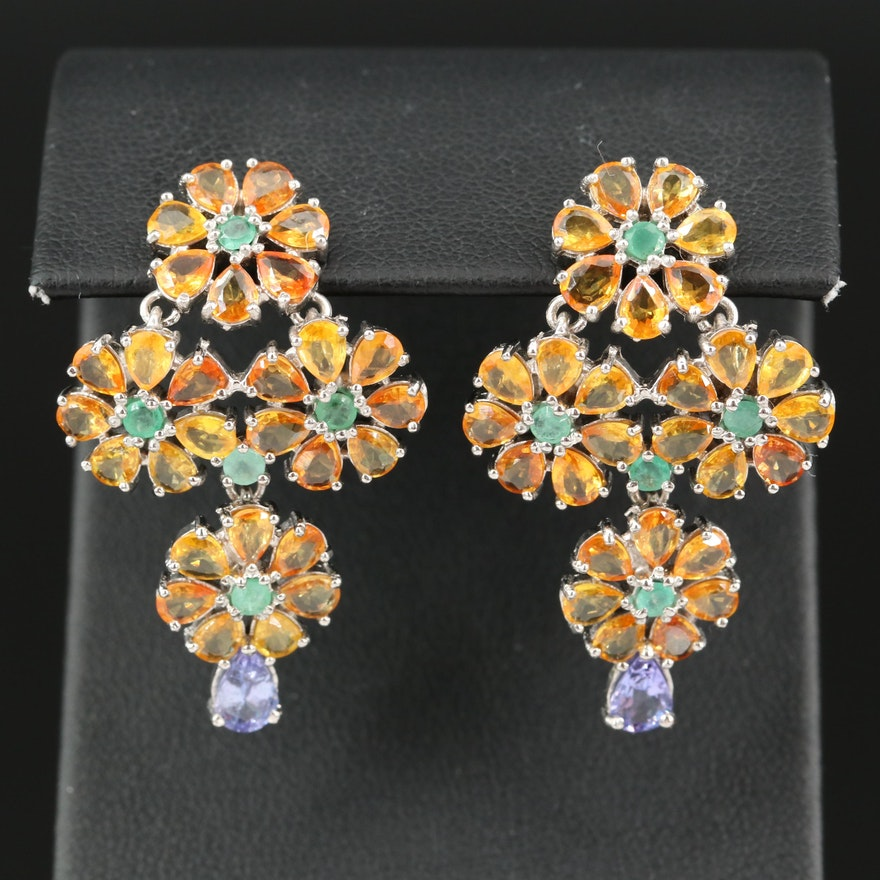 Sterling Flower Earrings with Sapphire, Tanzanite and Emerald