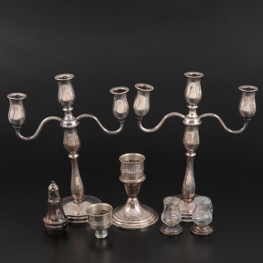 Towle Sterling Silver Candelabras and Other Sterling Silver Tableware