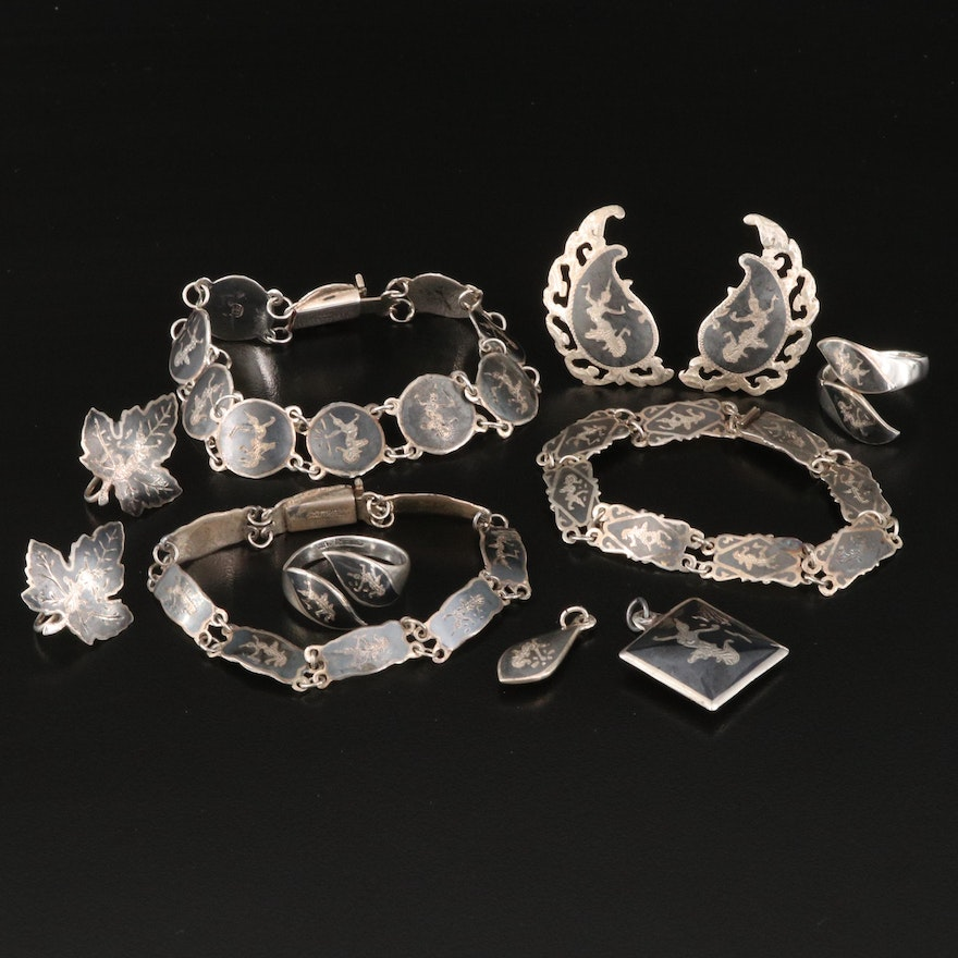 Vintage Siam Niello Jewelry Including Sterling Silver