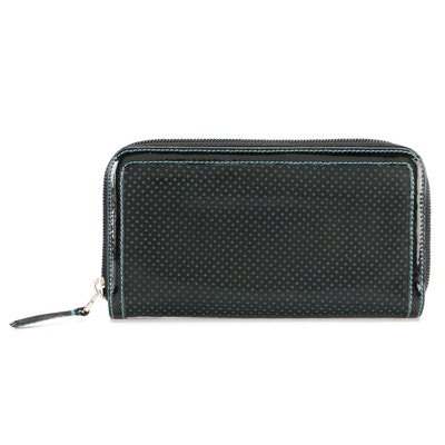 Fendi Zip-Around Wallet in Black Perforated Patent Leather with Contrasting Blue