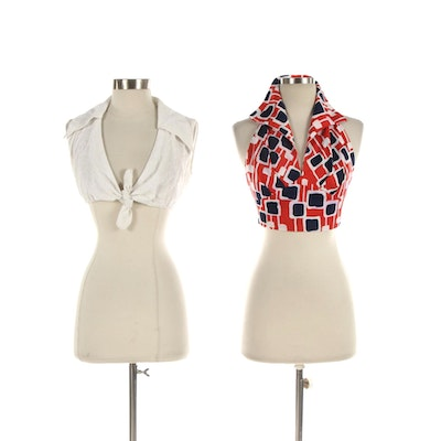Ray Strauss Geometric Patterned Halter Top and Other Eyelet Cropped Shirt
