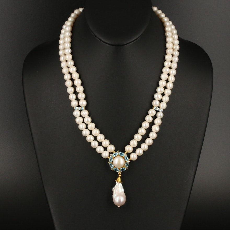 Sterling Silver Pearl Necklace with Swiss Blue and White Topaz Accents