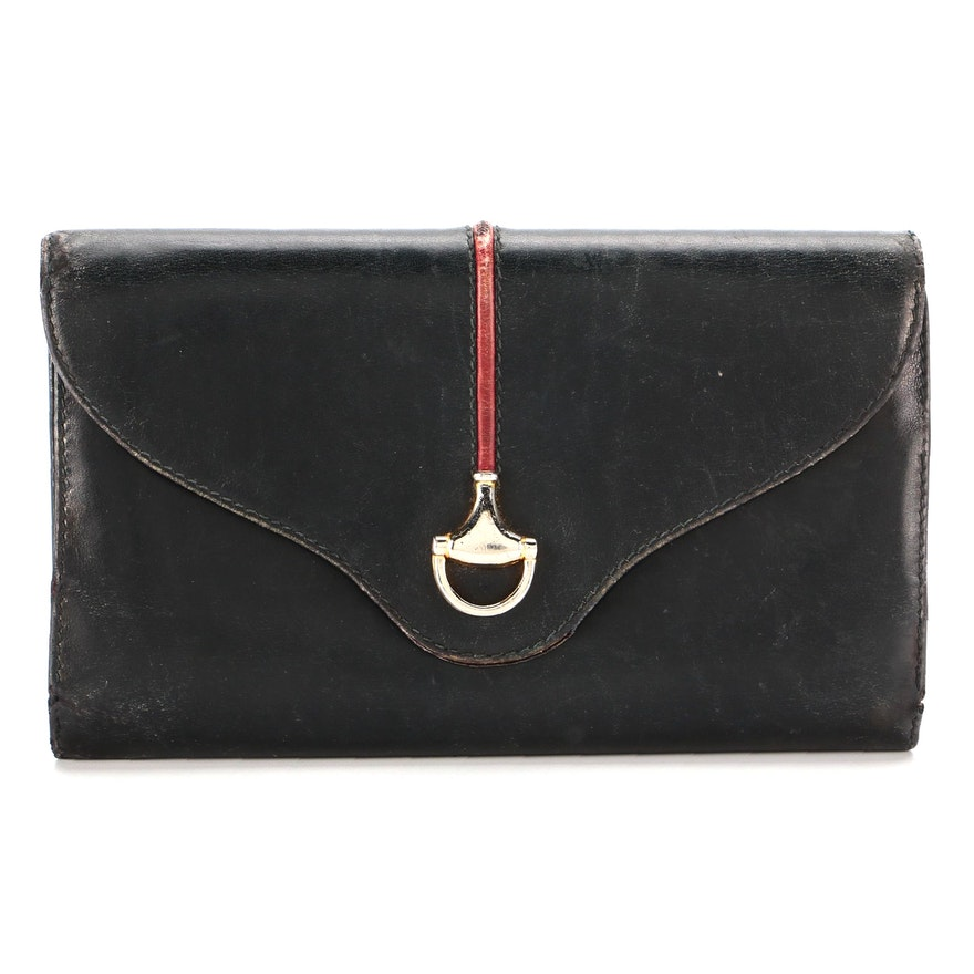 Gucci Trifold Continental Wallet in Black Leather with Horsebit and Red Stripe