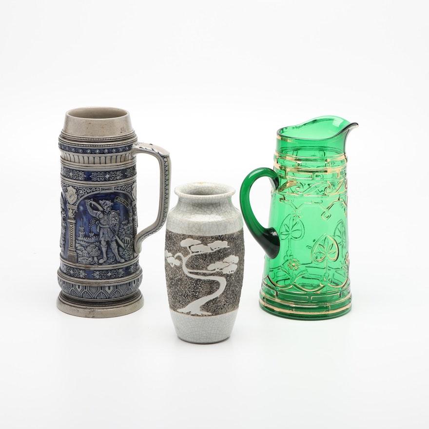 Reinhold Merkelbach Stoneware Beer Stein, Ceramic Vase, and Glass Pitcher