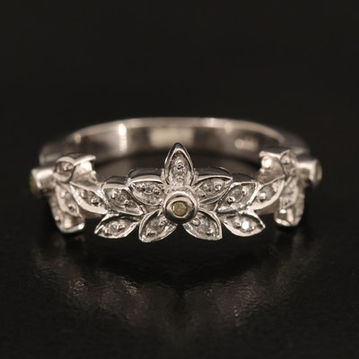 Sterling Diamond and Zircon Flower Band
