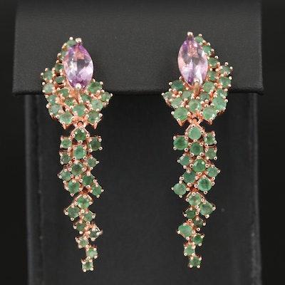 Sterling Amethyst and Emerald Drop Earrings