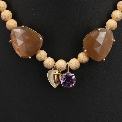 Sterling Amethyst and Sunstone Necklace with Heart Charm