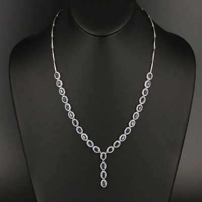 Sterling Sapphire Drop Necklace