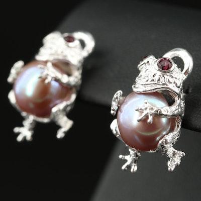 Sterling Pearl and Garnet Frog Earrings