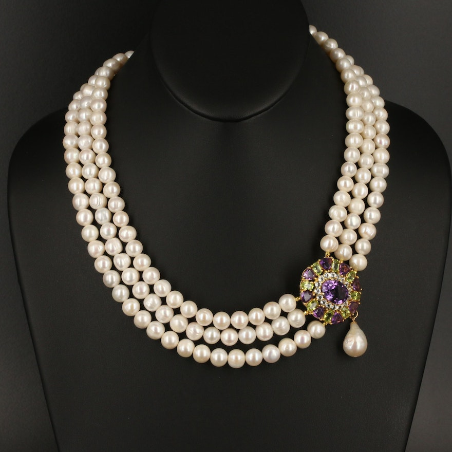 Sterling Multi-Row Pearl Necklace Featuring Amethyst and Peridot
