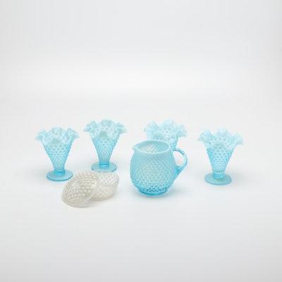 Ruffled Hobnail Glass Vases, Creamer, and Lidded Box