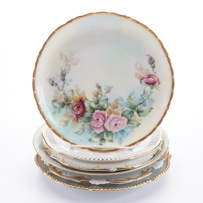 Hand-Painted Bavarian Porcelain Plates, Mid-20th Century
