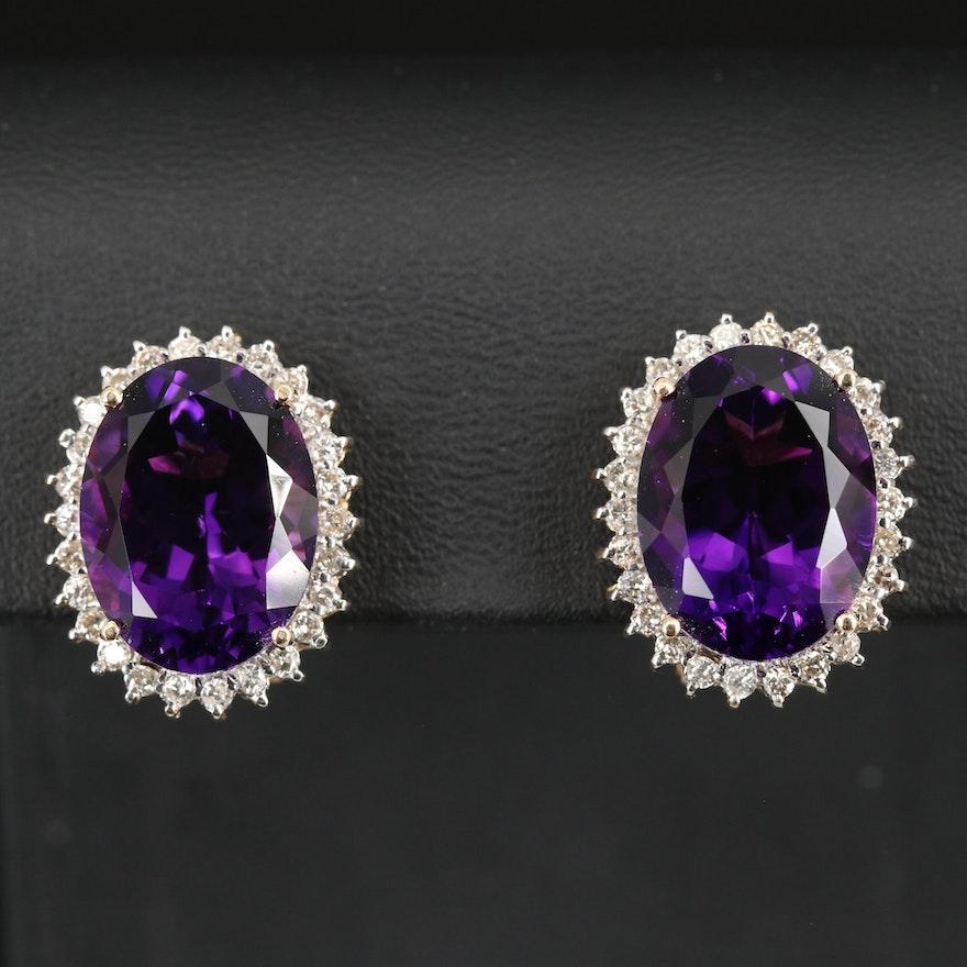 14K Amethyst and Diamond Halo Button Earrings