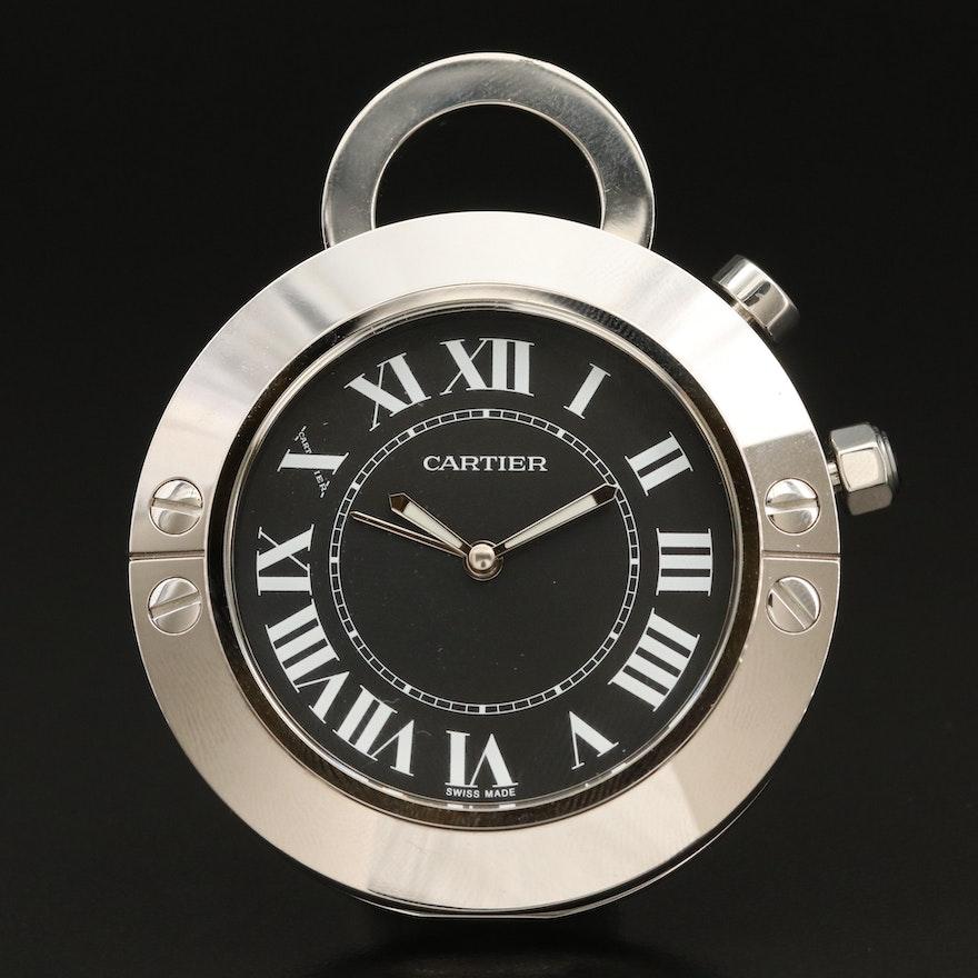 Cartier Santos Stainless Steel Travel Alarm Clock