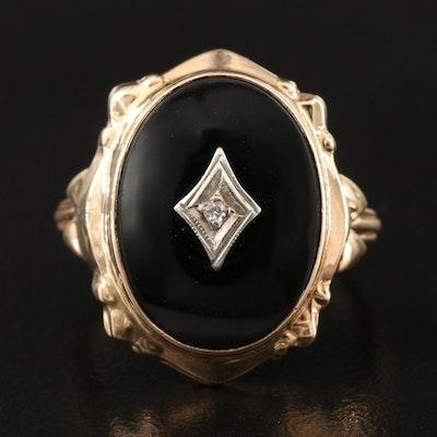 10K Black Onyx and Diamond Ring