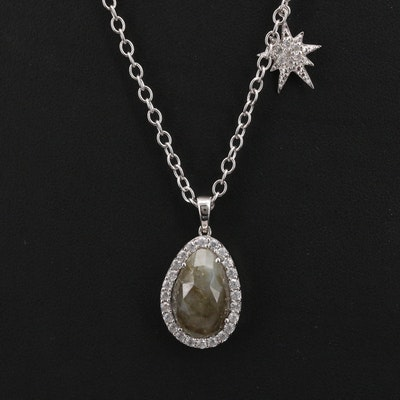 Sterling Labradorite and White Zircon Pendant Necklace with Starburst Accent