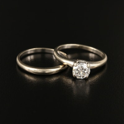 14K 0.68 CT Diamond Solitaire Ring and Band