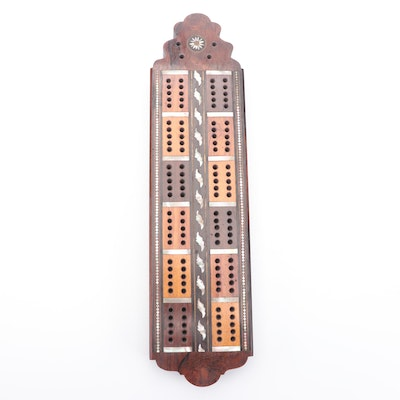 Cribbage Wooden Board Game with Mother-of-Pearl Inlay, Mid-20th C.