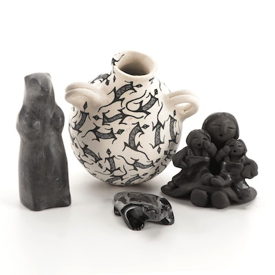 Acoma Pueblo Earthenware Vessel With Carved Stone and Blackware Figurines