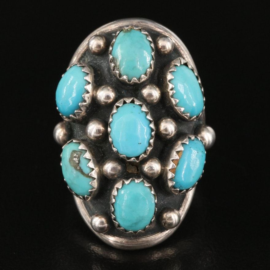 Benny Touchine Navajo Diné Sterling Turquoise Pointer Ring