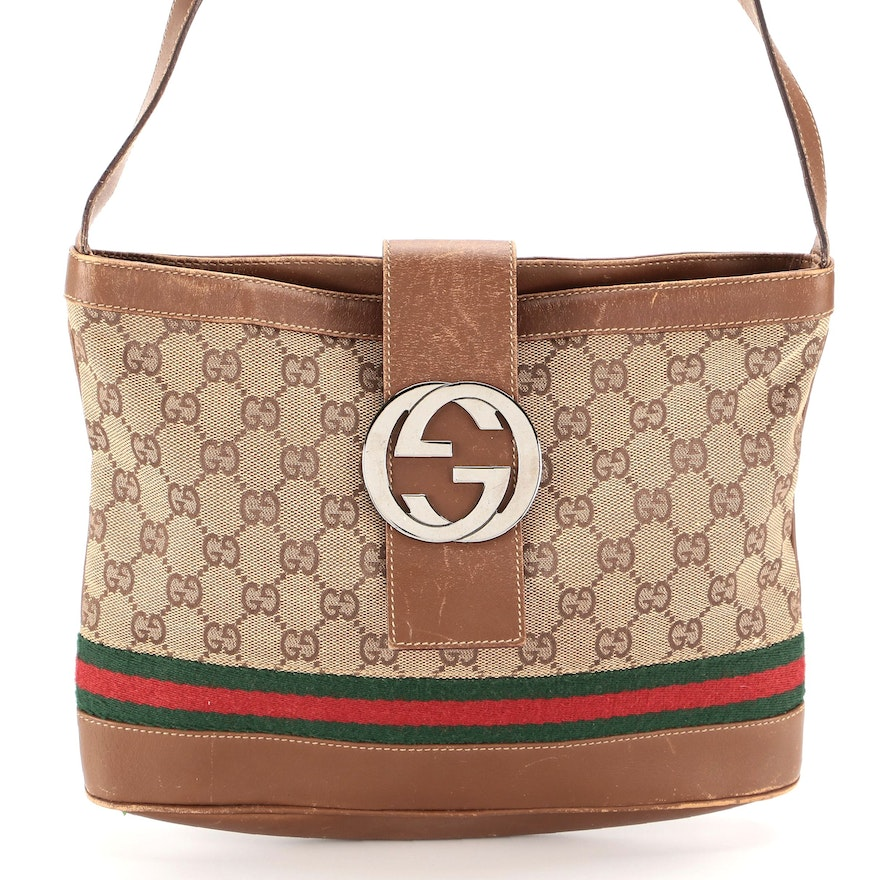 Gucci GG Web Canvas and Leather Shoulder Bag