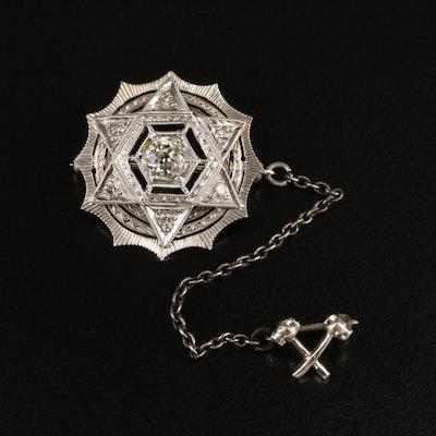 Vintage 14K and Platinum Diamond Double Pin