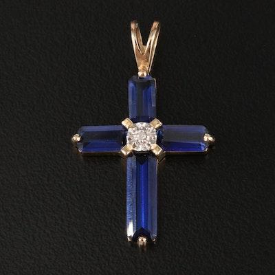 10K Sapphire and Diamond Cross Pendant