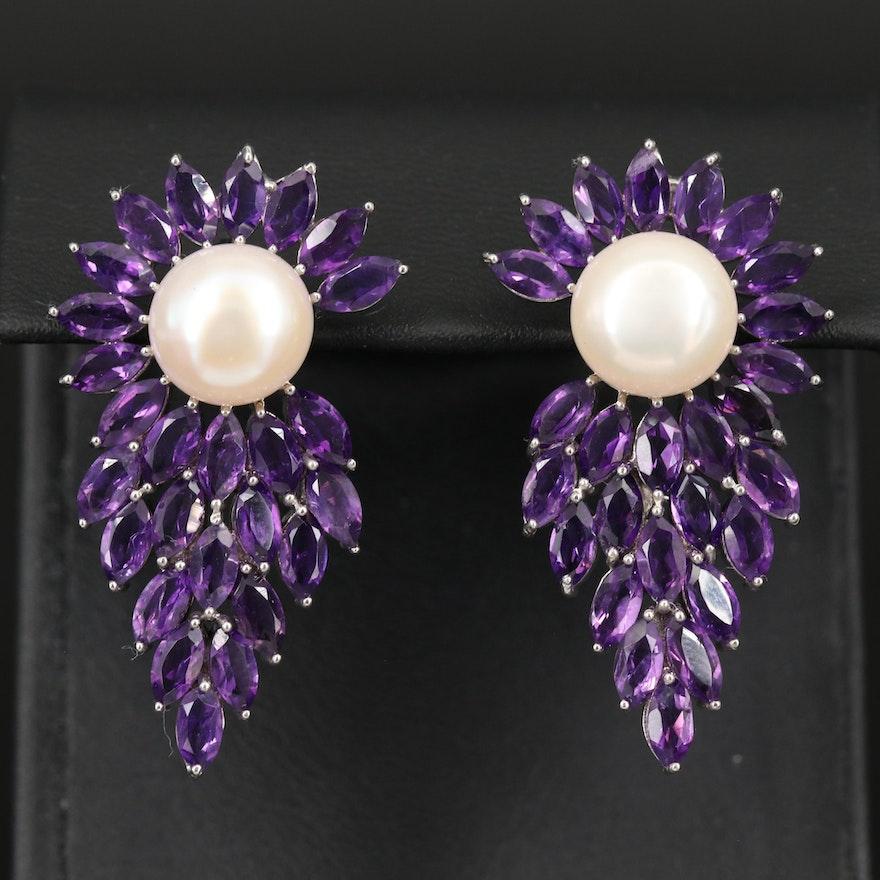 Sterling Pearl and Amethyst Cluster Earrings