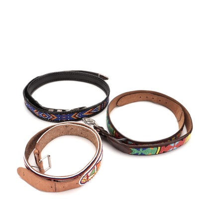Bobby Apachito Navajo Diné Sterling and 14K Buckle Set on Beaded Belt and More