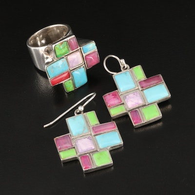 Sterling Turquoise and Agate Inlay Earring and Ring Set