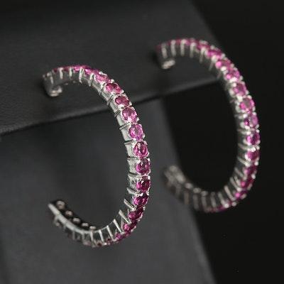 Sterling Rhodolite Garnet Hoop Earrings
