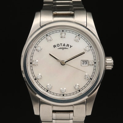 Rotary Havana Mother of Pearl Crystal Dial Stainless Steel Wristwatch