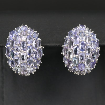 Sterling Tanzanite Bombé Dome Earrings