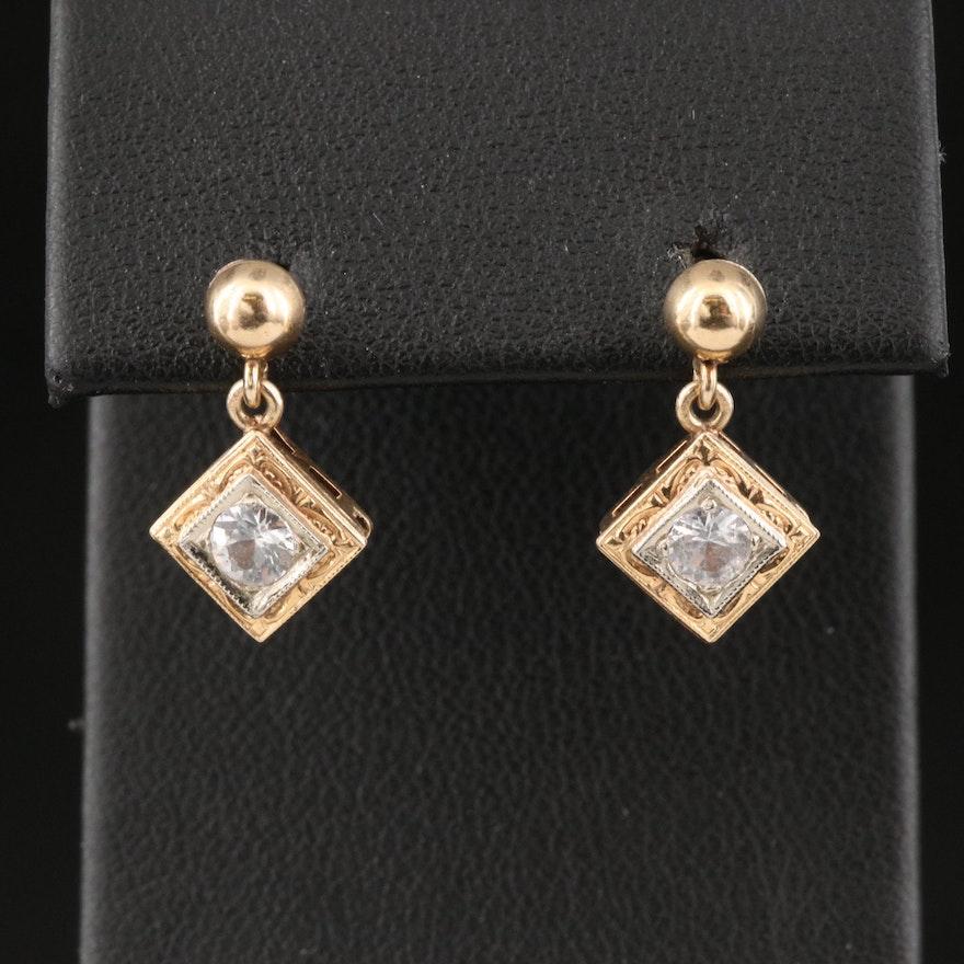 Vintage 14K Topaz Drop Earrings