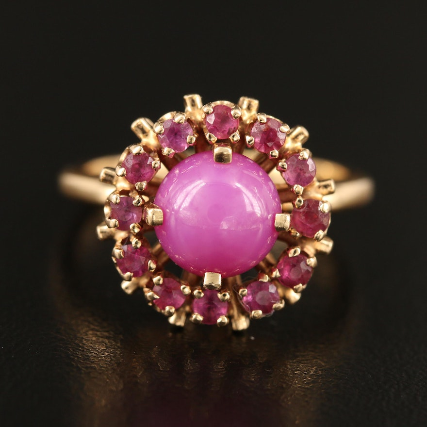 14K Star Ruby Ring with Ruby Halo
