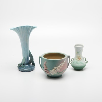 Roseville Wincraft and Foxglove Vase and Cachepot with Hull Vase