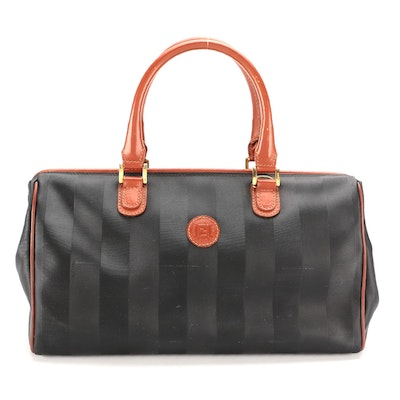 Fendi Doctor Bag Style Satchel in Pequin Stripe Coated Canvas and Leather