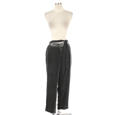 Elevenses Grey Velvet Wide Leg Pants