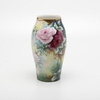 Tressemanes & Vogt Rose Motif Limoges Porcelain Vase, Late 19th to Early 20th C.