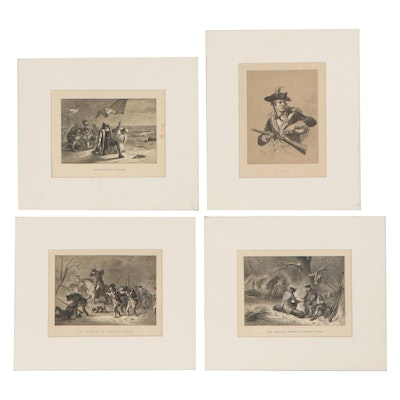 """Lithographs After Alfred Bobbett including """"The American Troops at Valley Forge"""""""