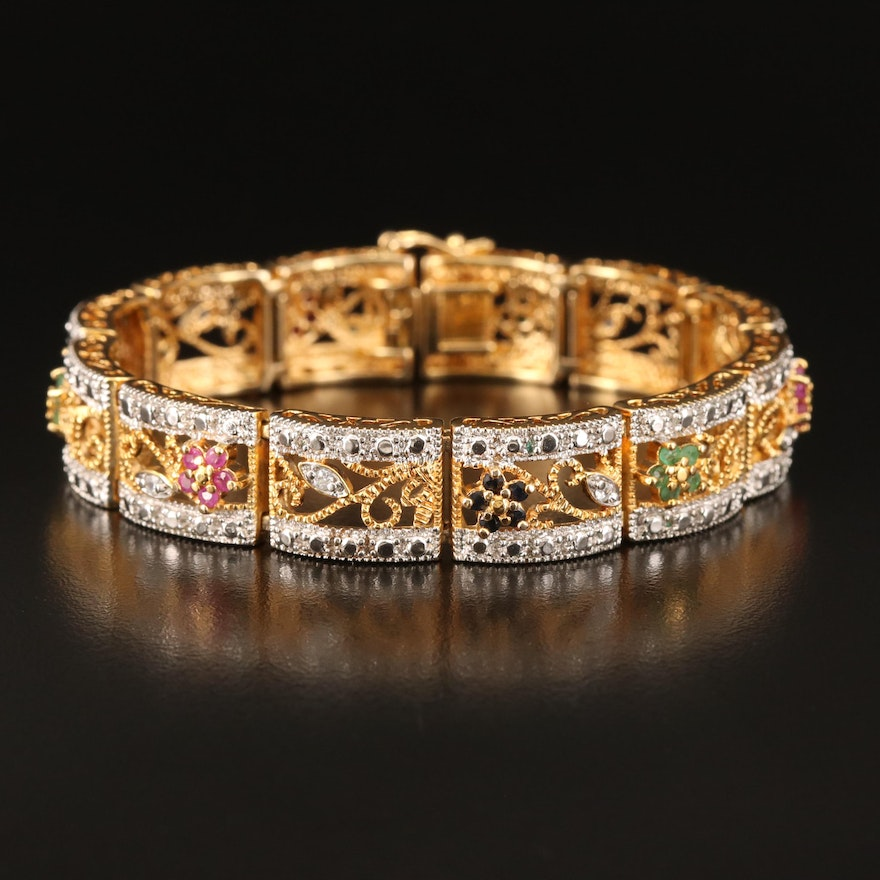 Sterling Panel Bracelet Including Ruby, Emerald and Sapphire
