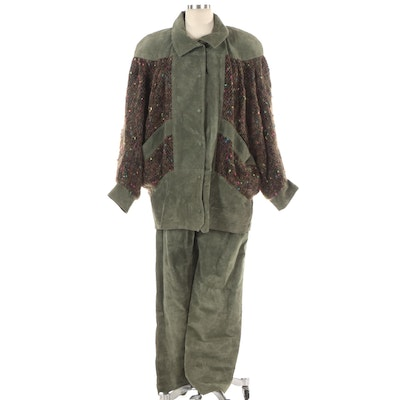 Jinx Senior Green Suede and Mohair Blend Jacket and Pants Set